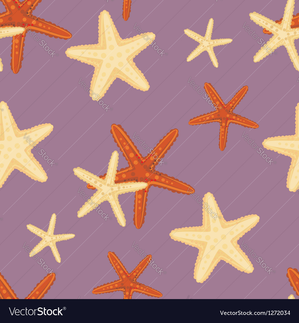 Seamless starfish pattern vector image