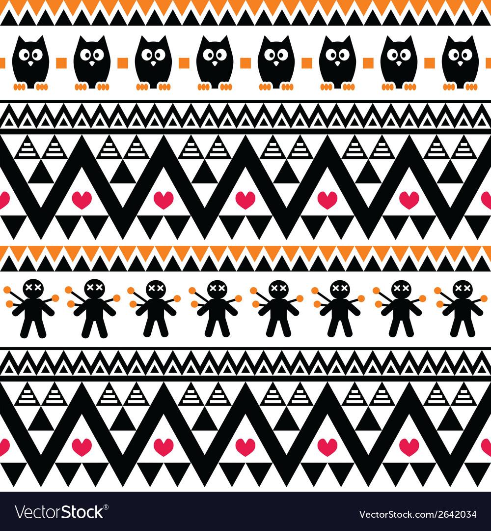 Halloween seamless pattern - tribal Aztec print vector image