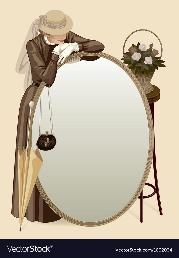 Retro woman with a mirror vector image