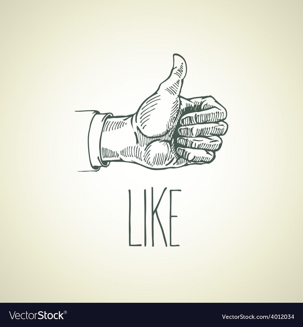 Vintage hand-drawn hand sign like vector image