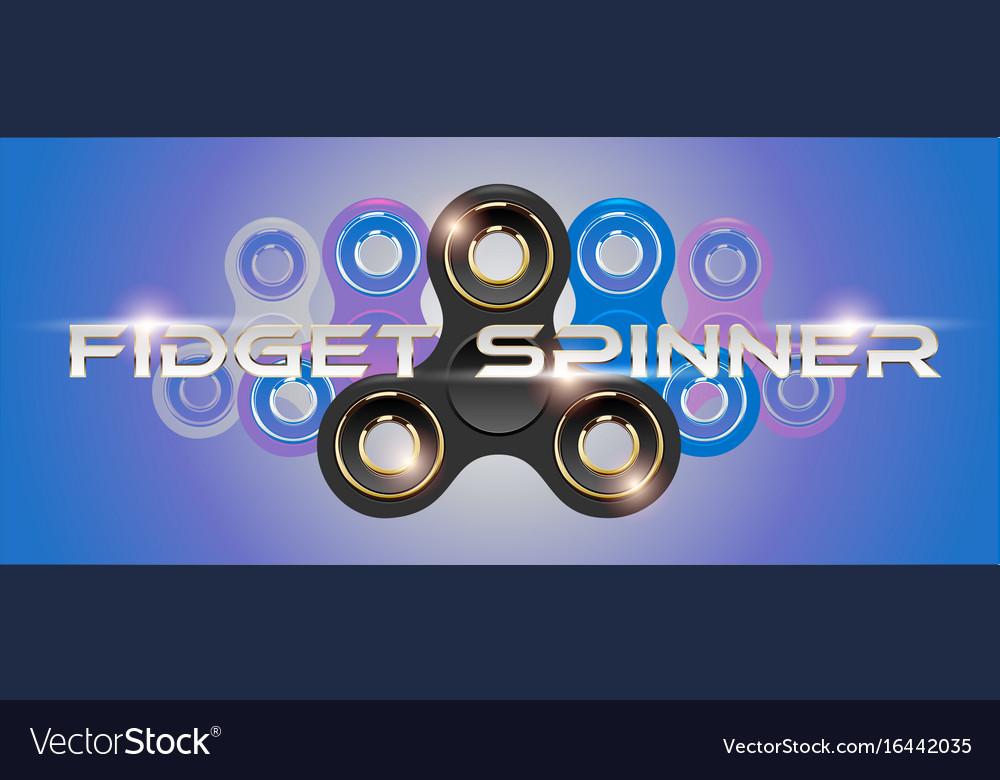 Black fidget finger spinner horizontal web banner vector image