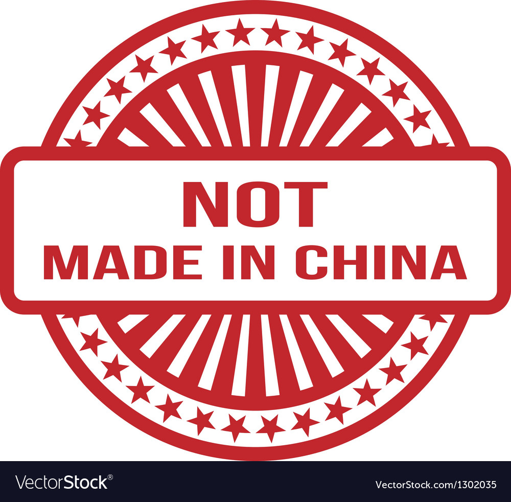 Not Made In China Red Rubber Stamp For Any vector image