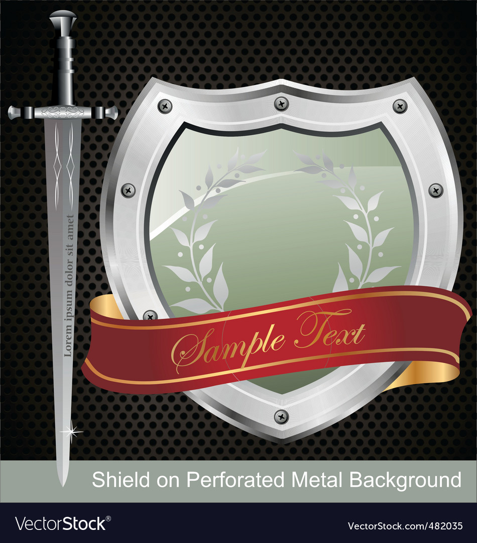 Shield on perforated metal background vector image
