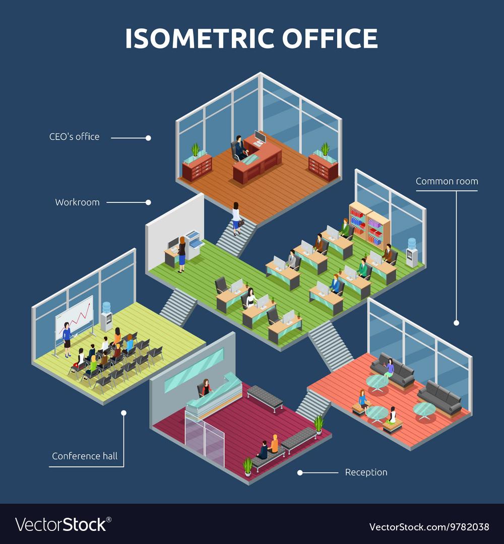 Isometric Office 3 Floor Building Plan Royalty Free Vector
