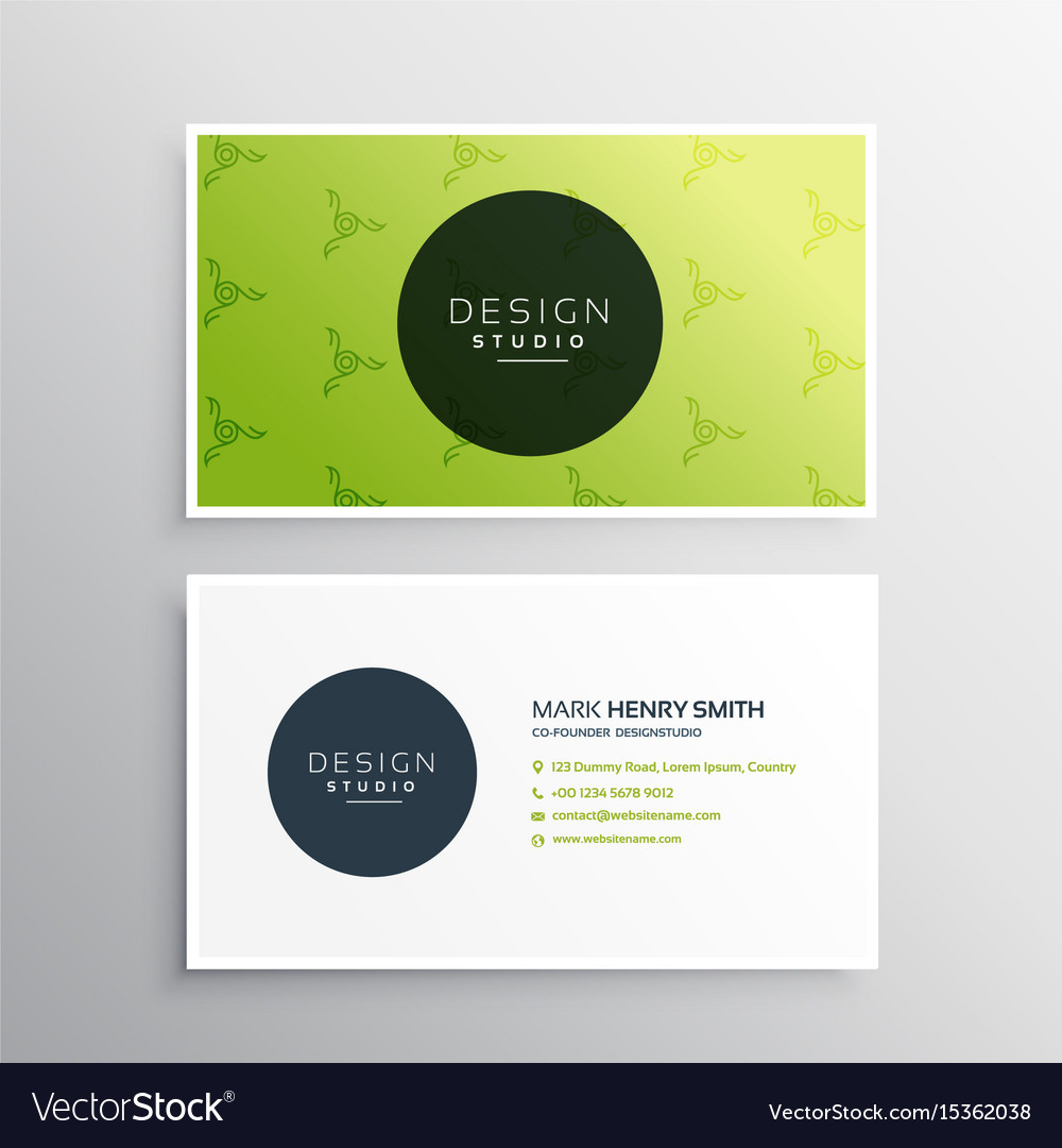 Minimal green business card design template vector image reheart Gallery