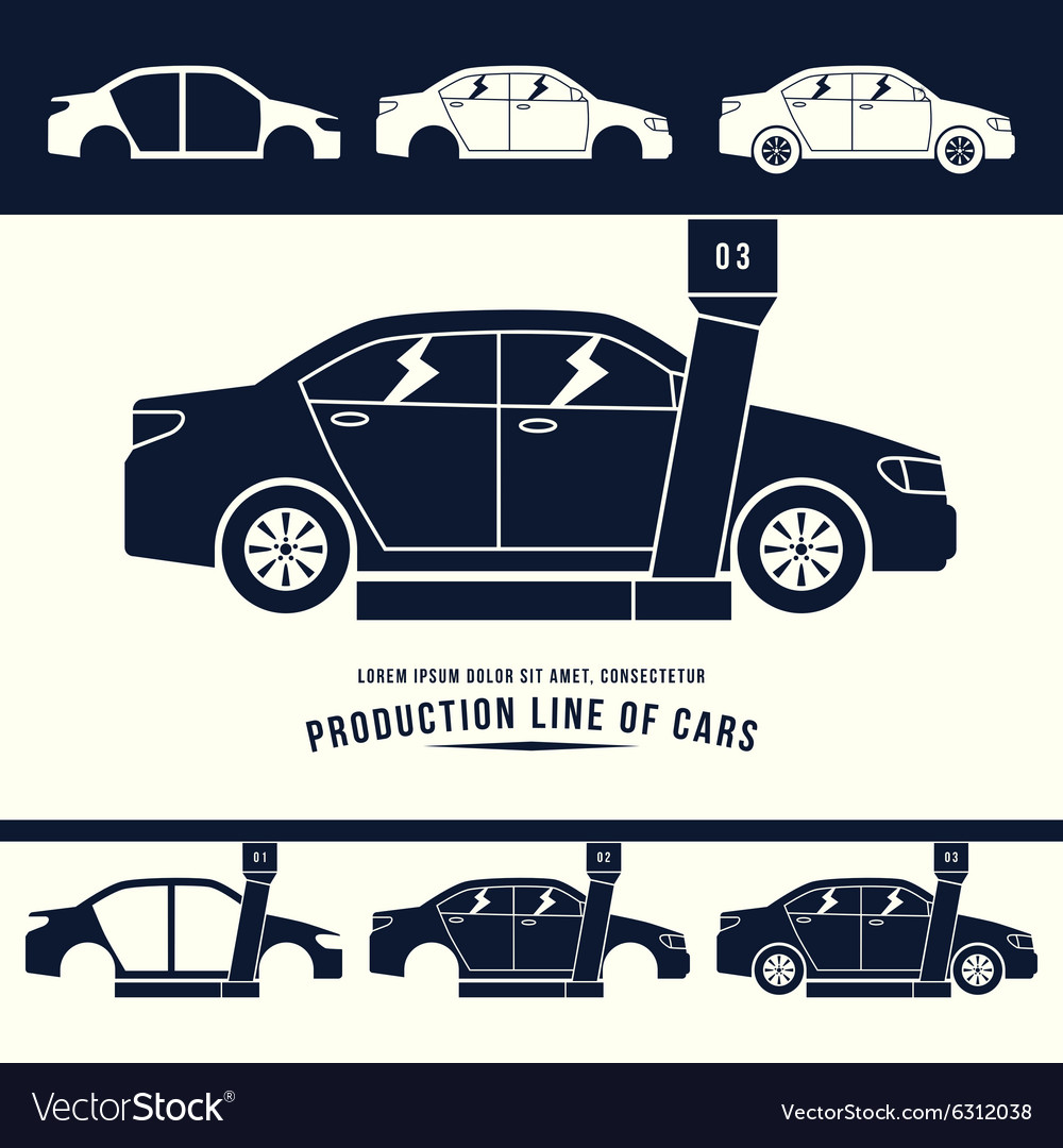 Production line of cars Royalty Free Vector Image