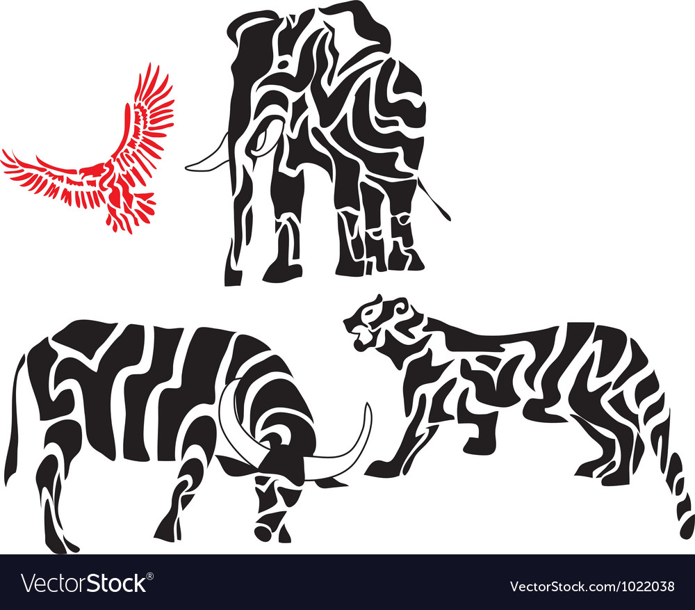 Set of african animal silhouettes vector image