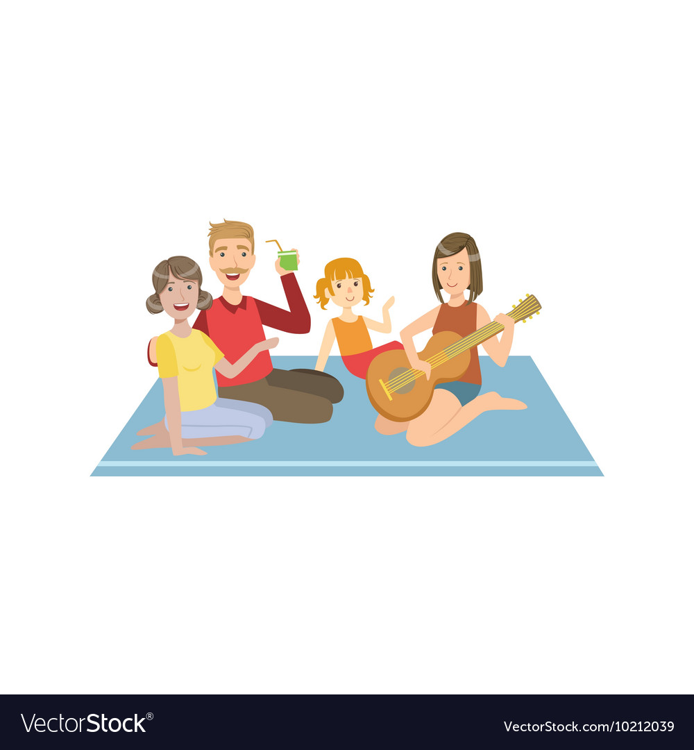 Family On Picnic WIth Guitar vector image