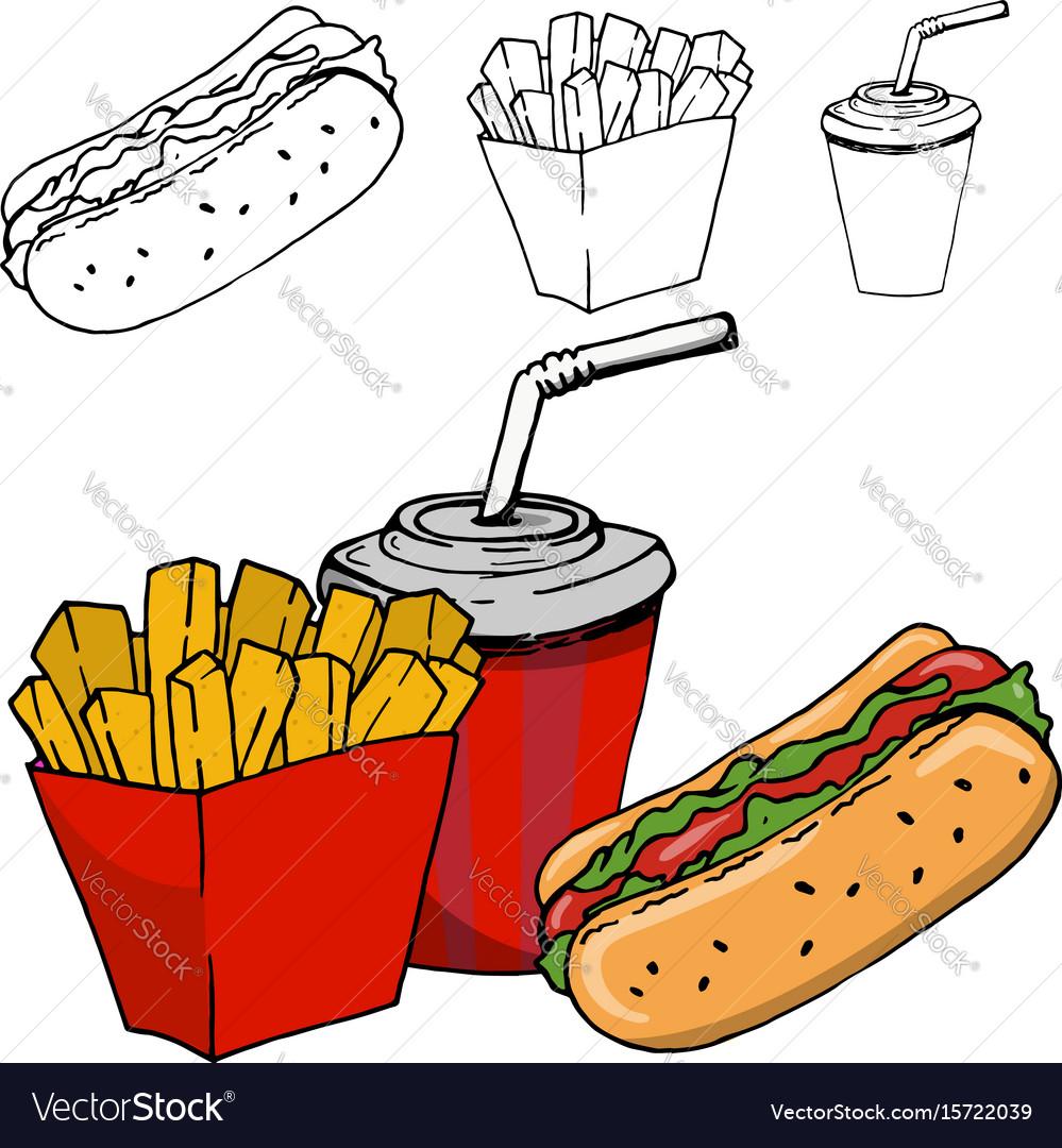 French fries soda hot dog isolated on white vector image
