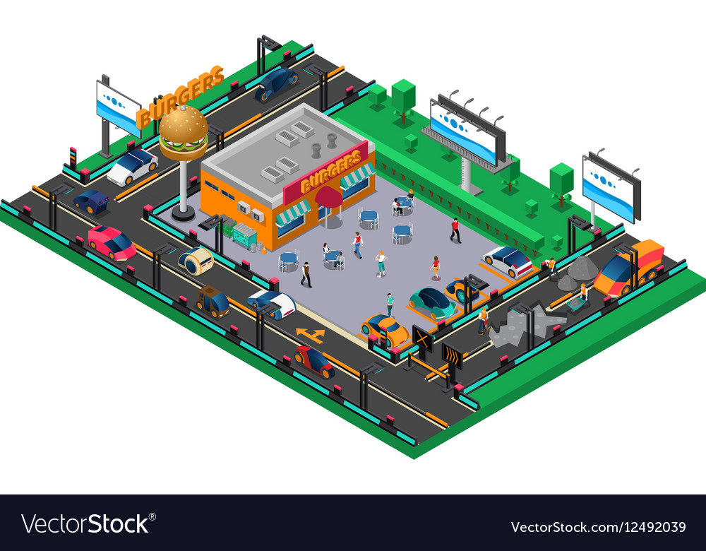Futuristic Isometric Composition vector image