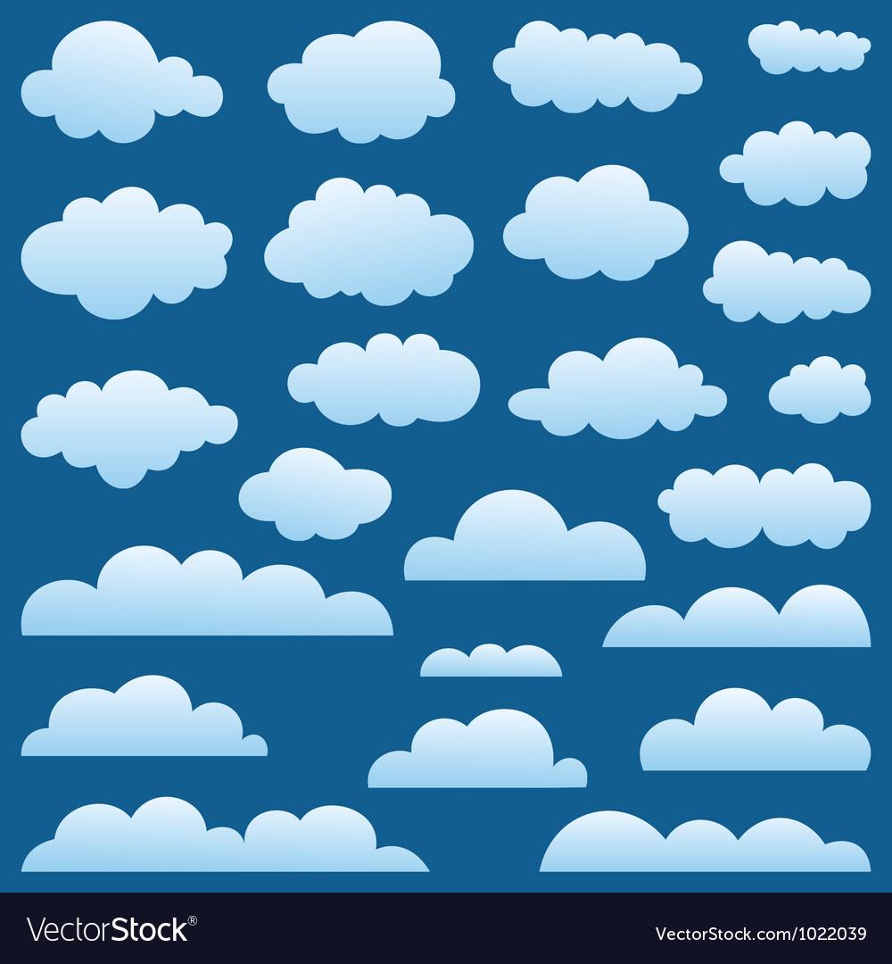 Set a cloud vector image
