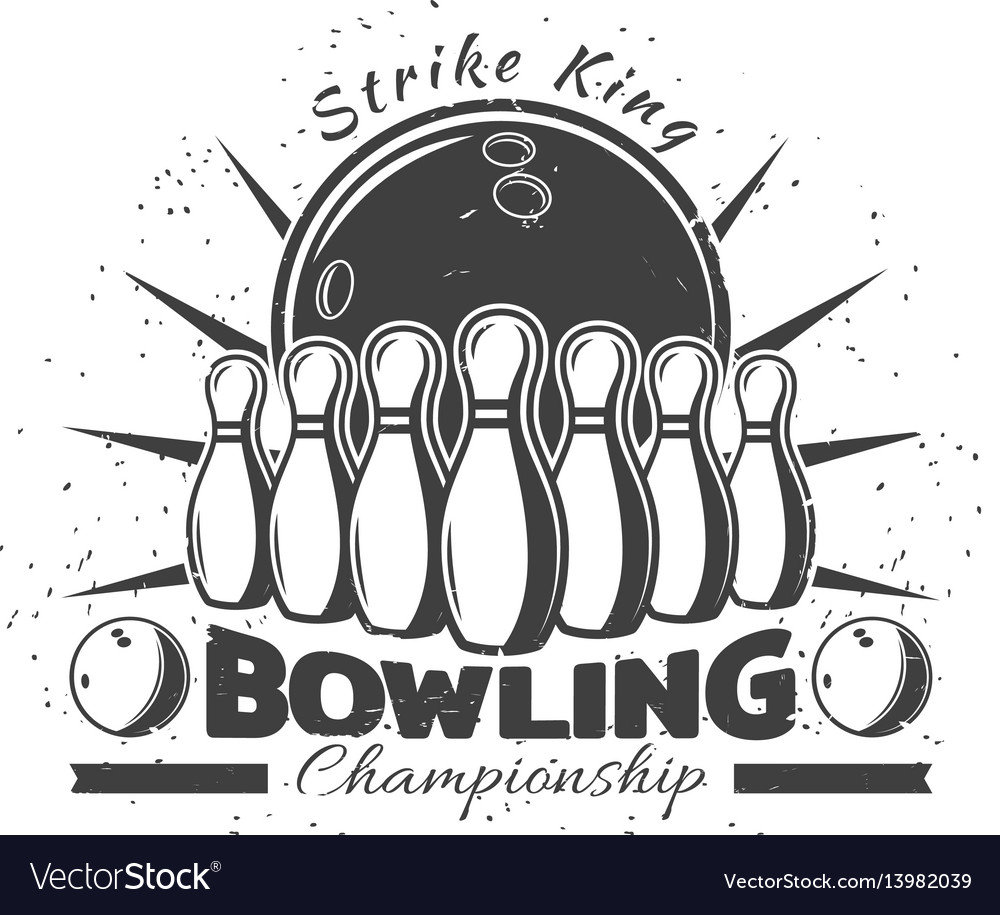Vintage bowling club template vector image