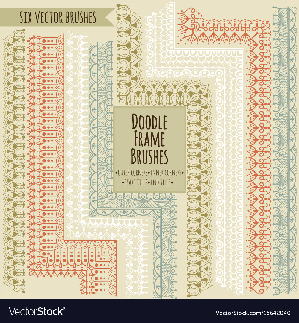 Doodle brushes with outer inner start and end vector image