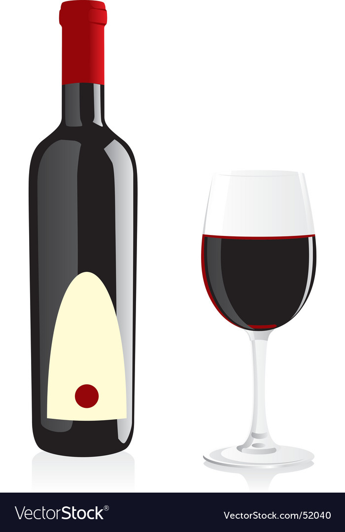 Isolated wine bottle and glass vector image