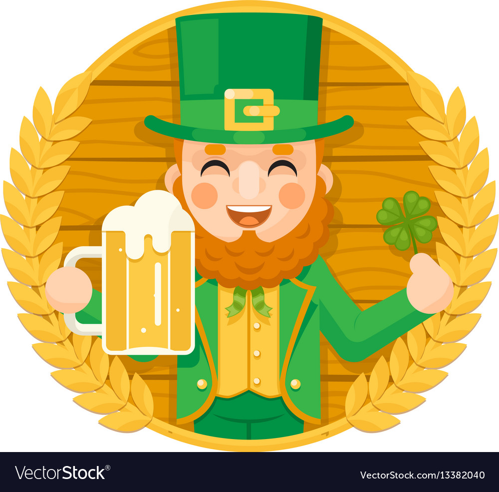 Leprechaun saint patrick day celebration clover vector image