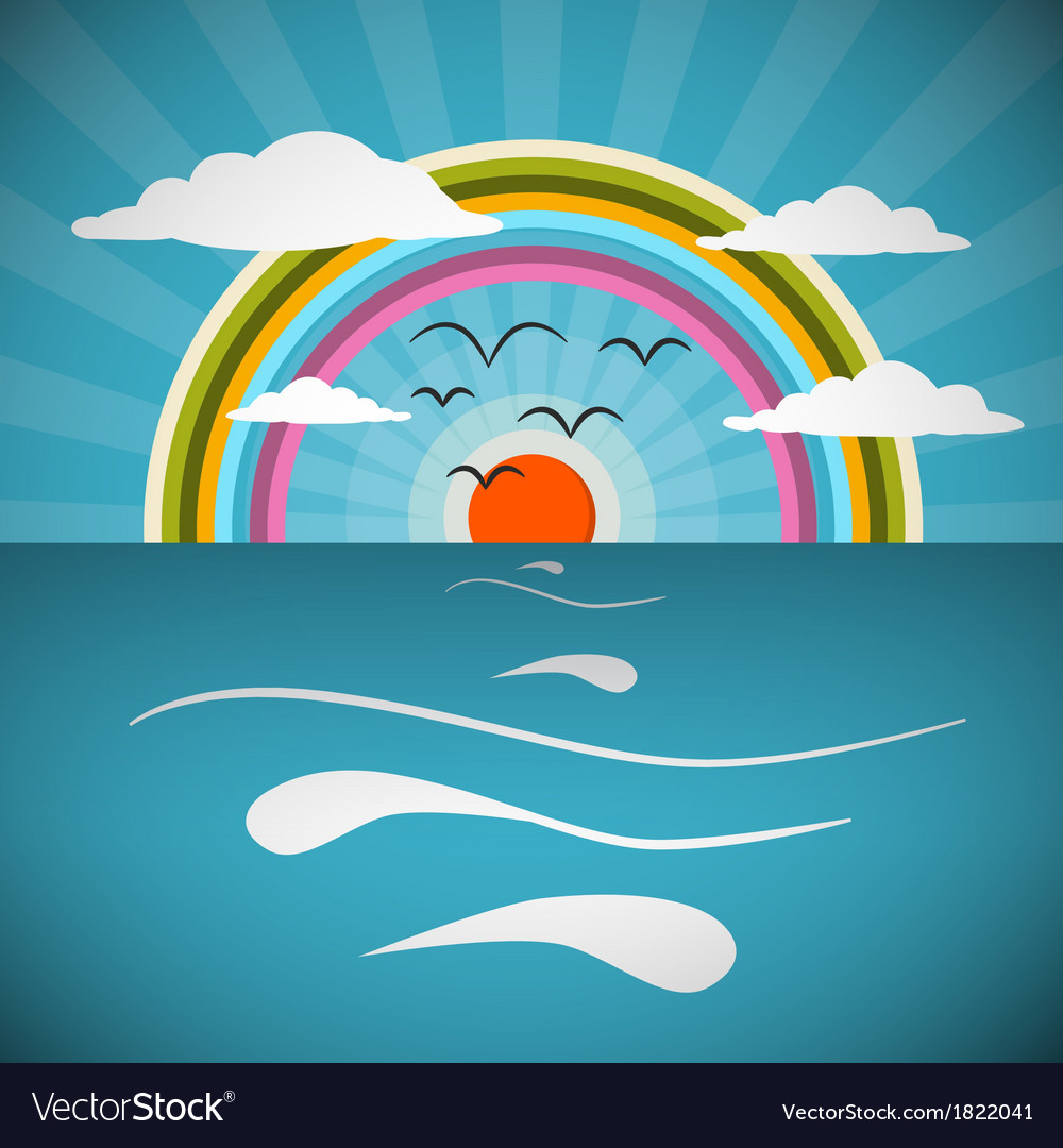 Ocean Abstract Retro with Sun Birds Rainbo vector image