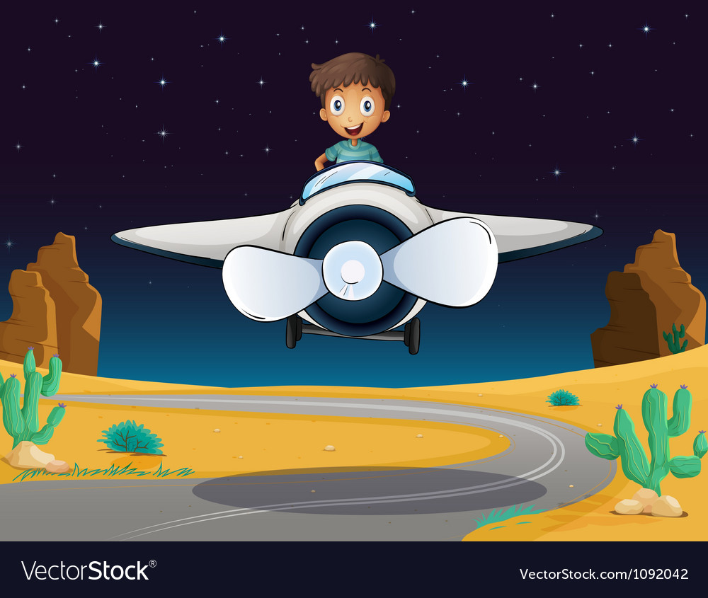 A boy and aeroplane Vector Image
