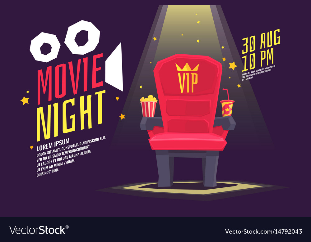 Colorful poster movie night with a projector vector image