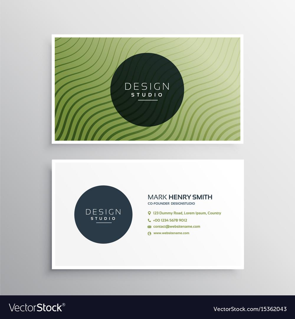 Green diagonal wavy lines business card design Vector Image