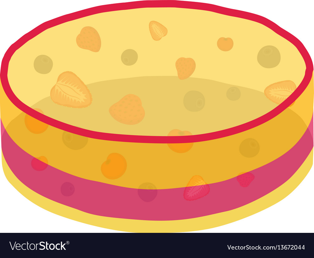 Jelly cake with berries - strawberry blackberry vector image
