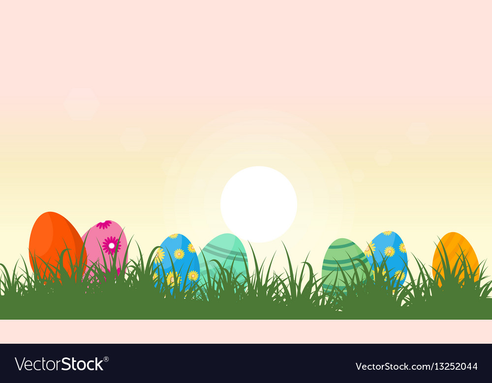 Landscape of easter egg and grass vector image