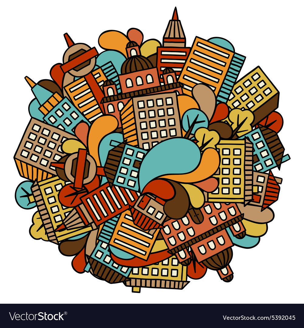 Town background design with hand drawn houses vector image