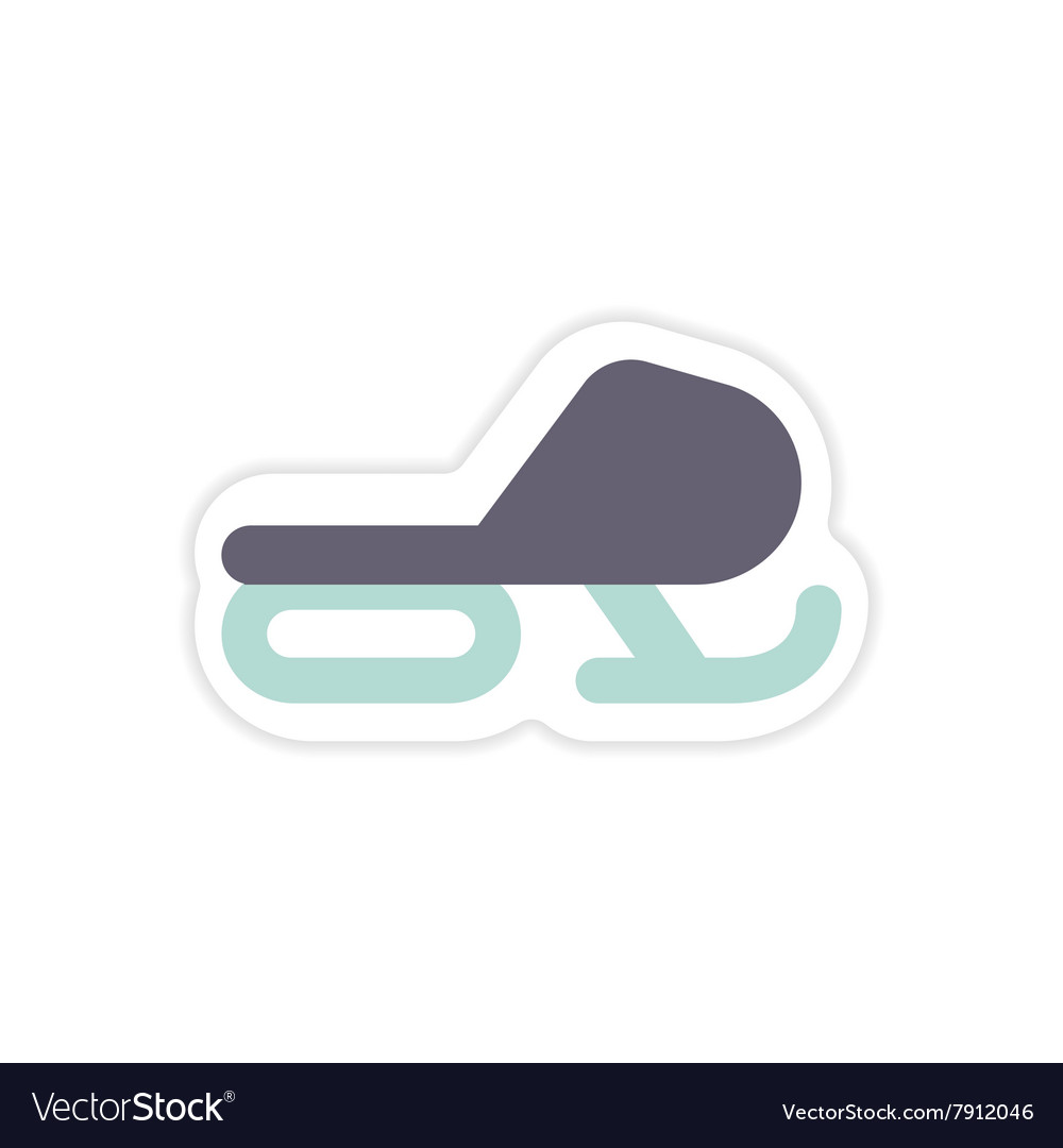 Paper sticker on white background Snow mobile