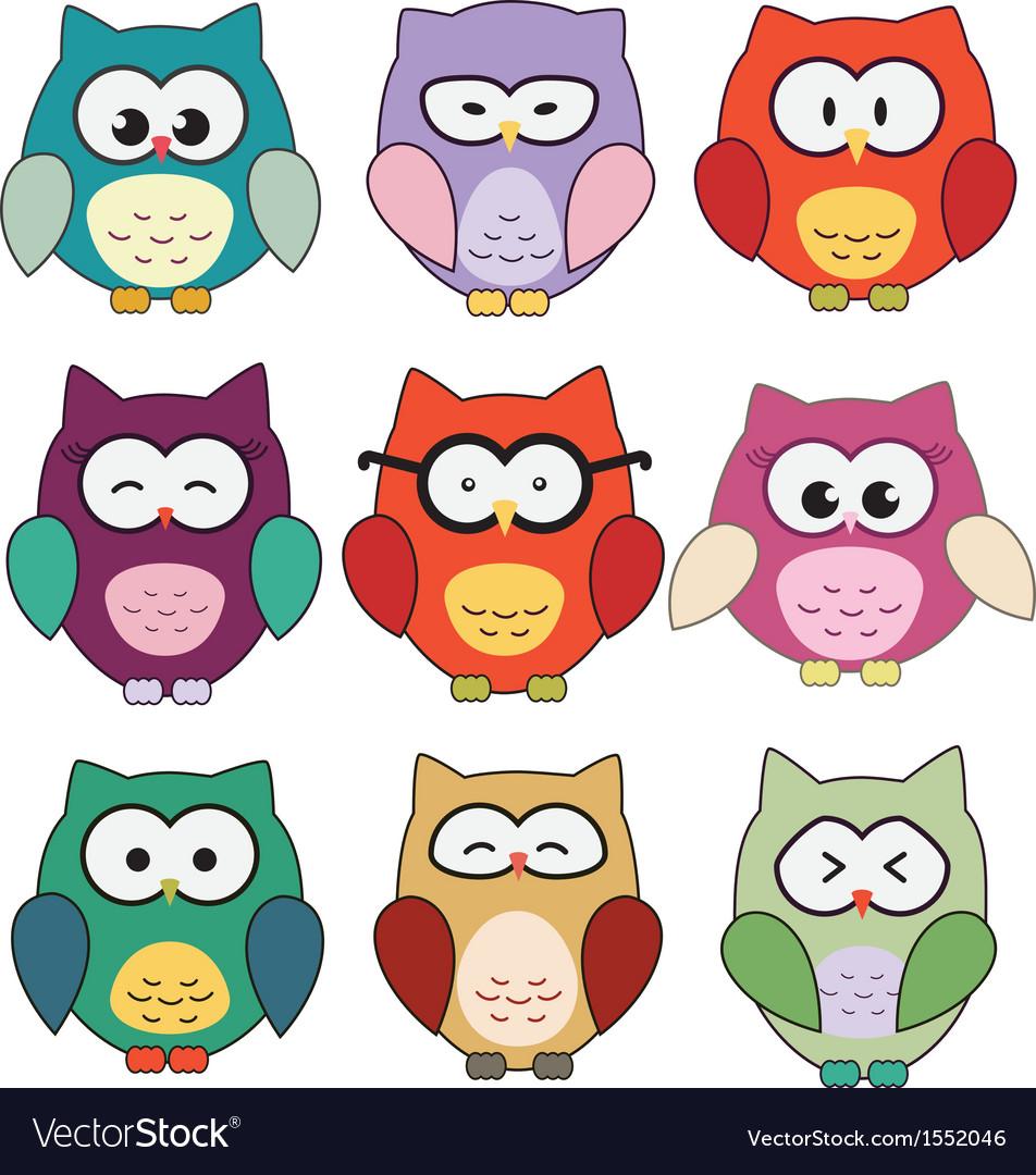 cute cartoon owls royalty free vector image vectorstock