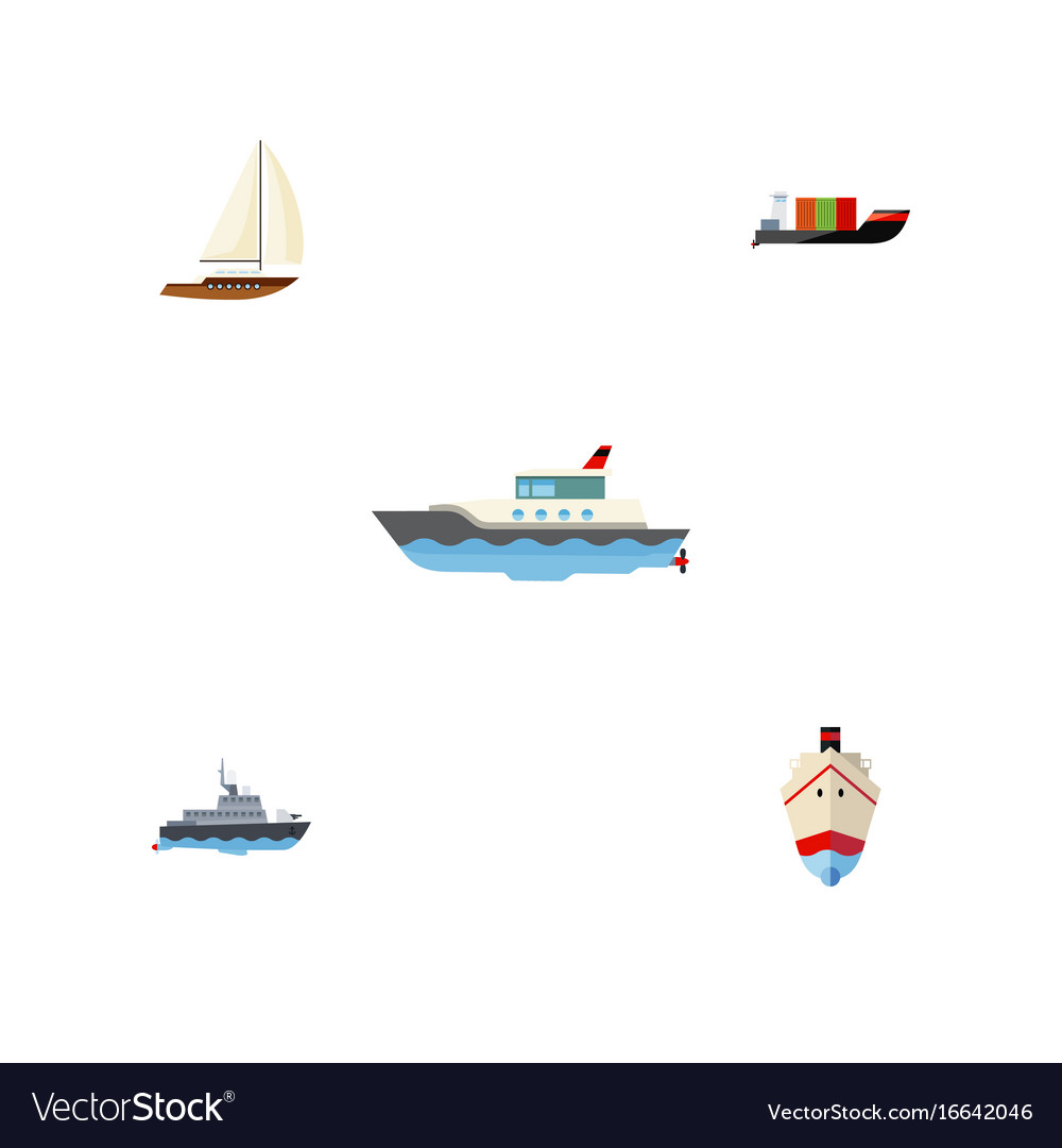 Flat icon vessel set of ship tanker sailboat and vector image
