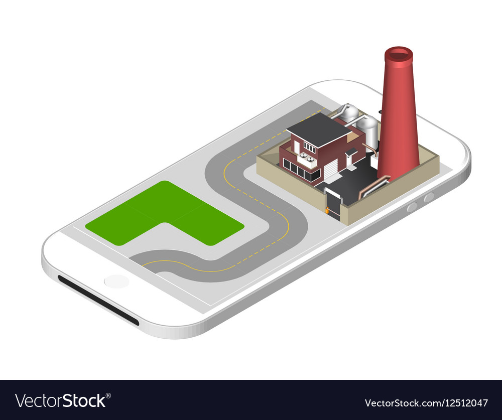 Isometric icon representing factory building with vector image