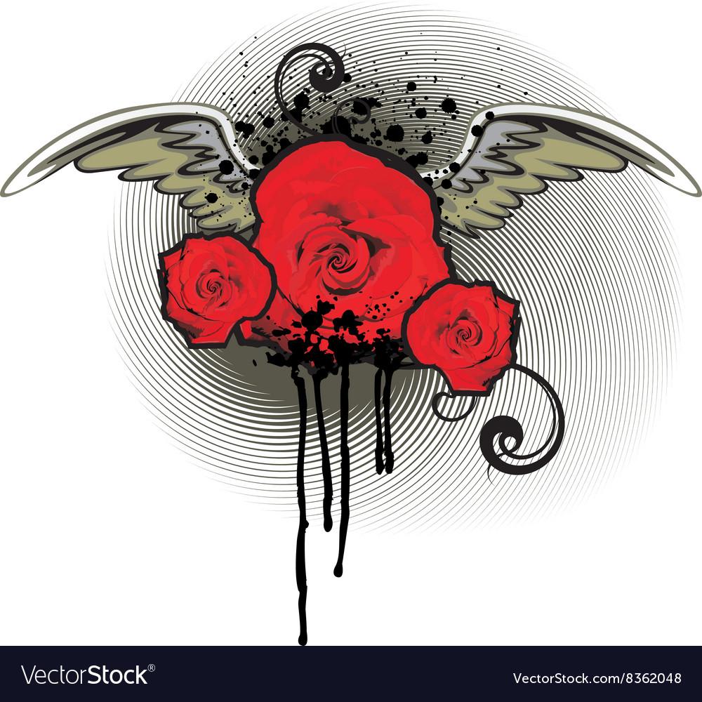 Grunge Red Rose Design vector image