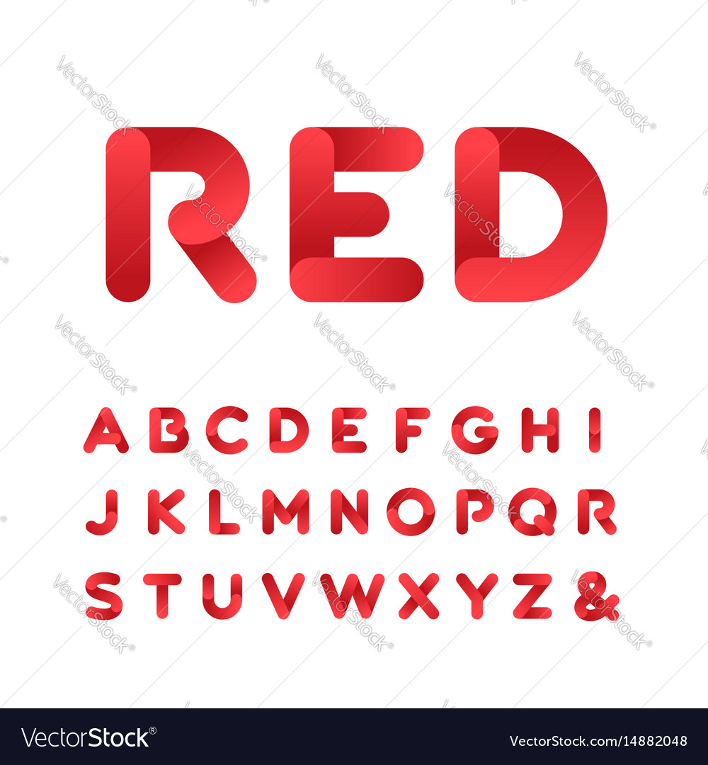 Rounded font alphabet with gradient effect letters vector image