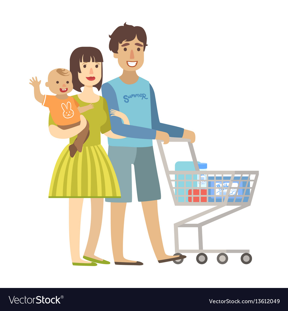 Young parents with baby son shopping in vector image