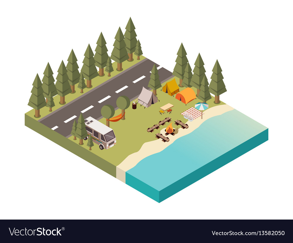 Camp between road and lake vector image