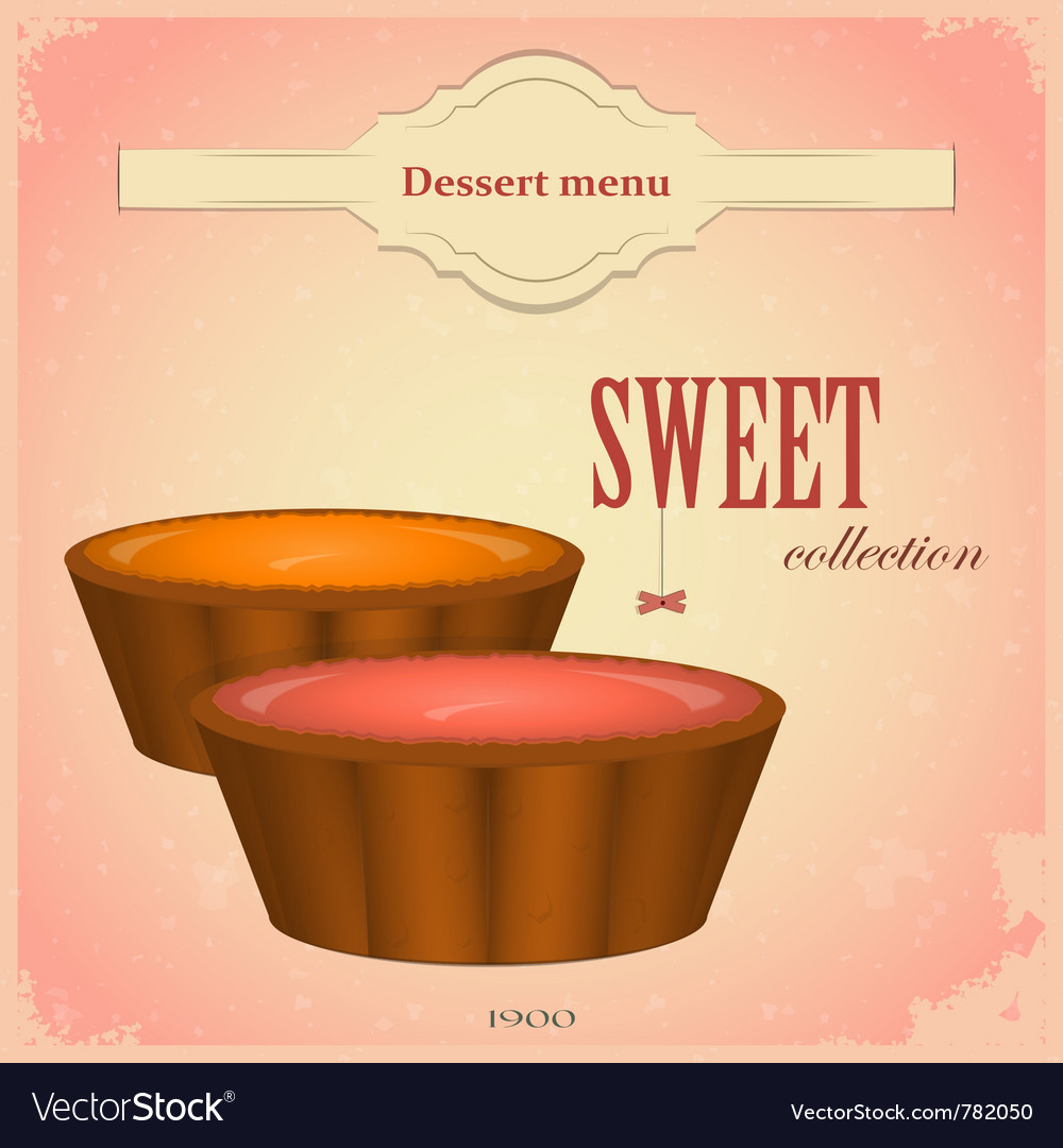 Fruit cakes vector image