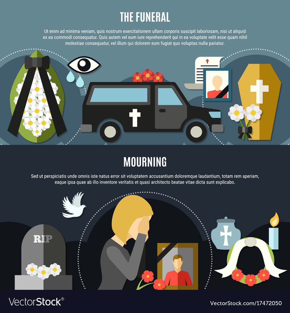 Funeral and mourning banners set vector image