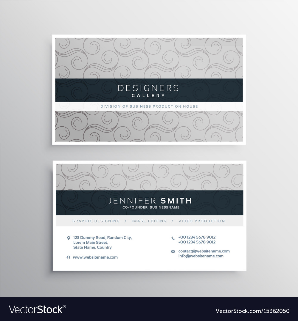 Modern gray business card design with elegant Vector Image