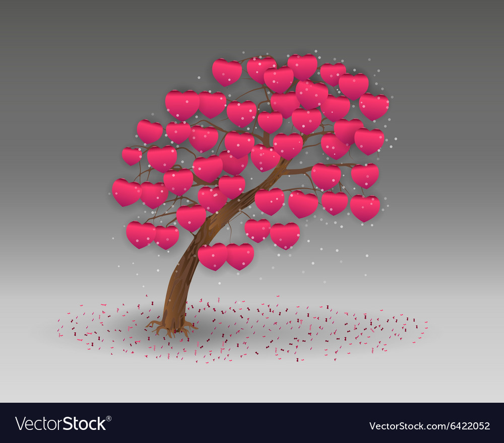 Love tree having heart shapes vector image