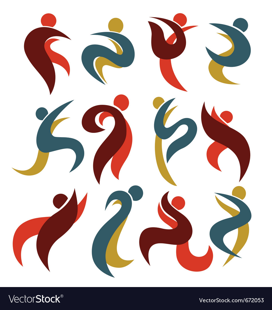 Dancing people icons vector image