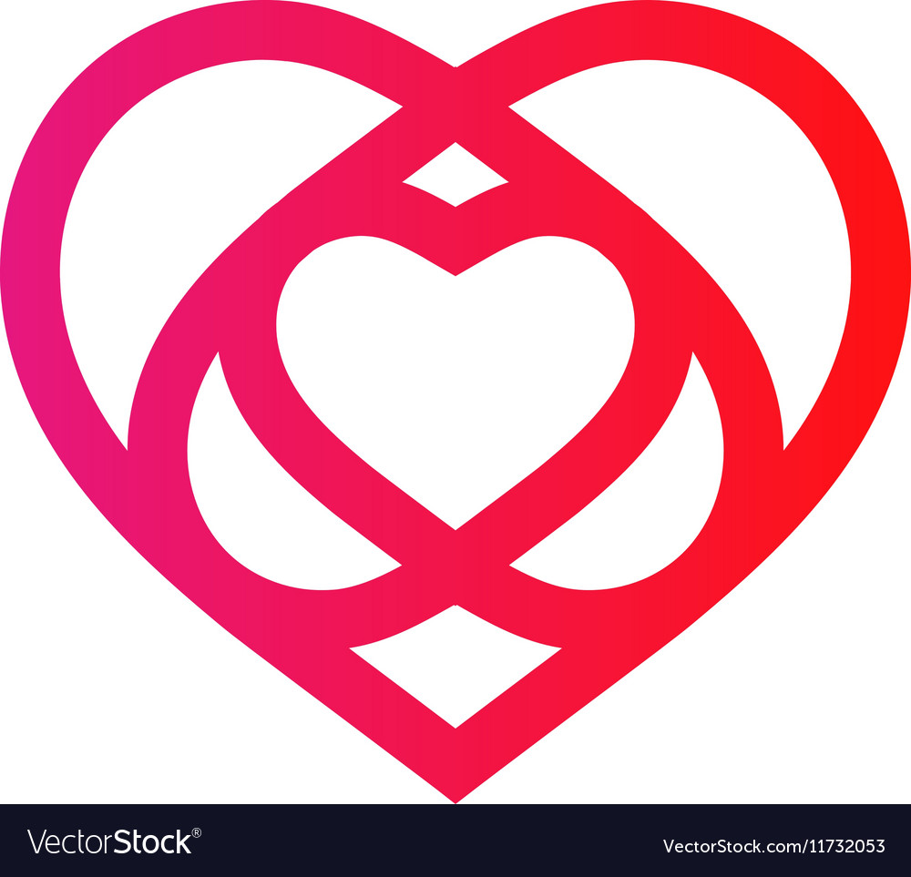 Isolated crimson abstract monoline heart logo vector image