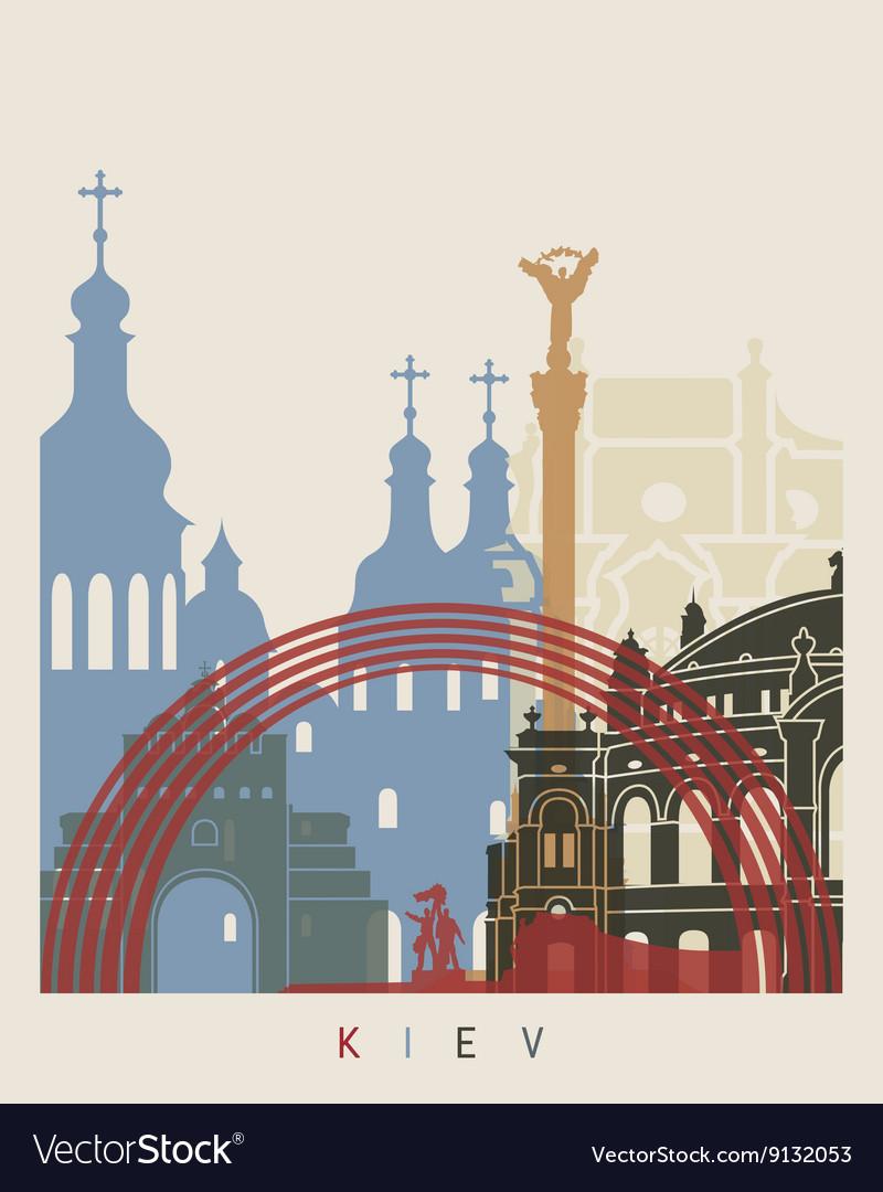 Kiev skyline poster vector image