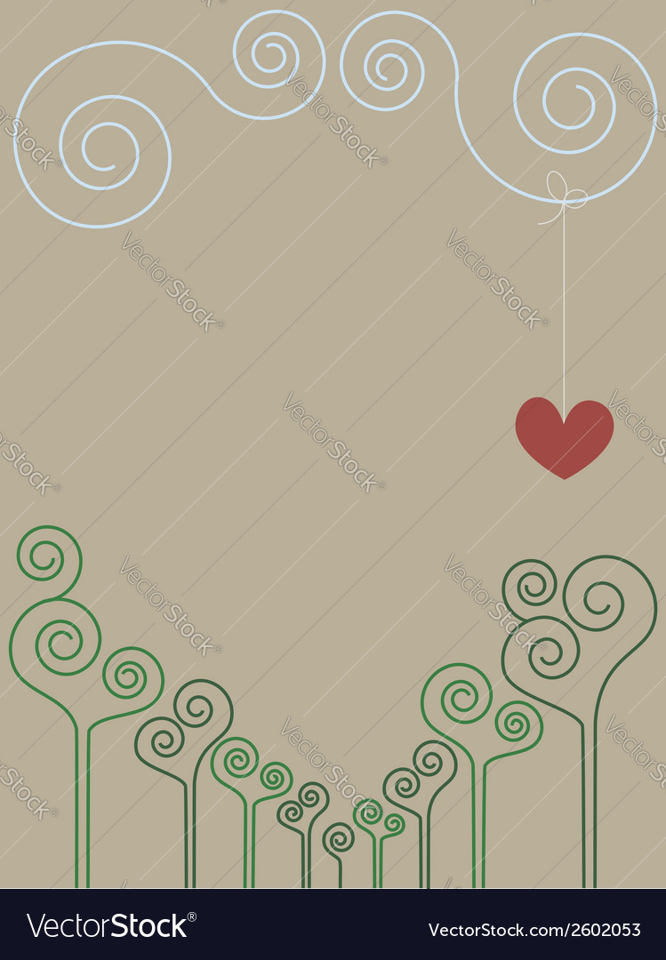 Vintage romantic spiral drawing vector image