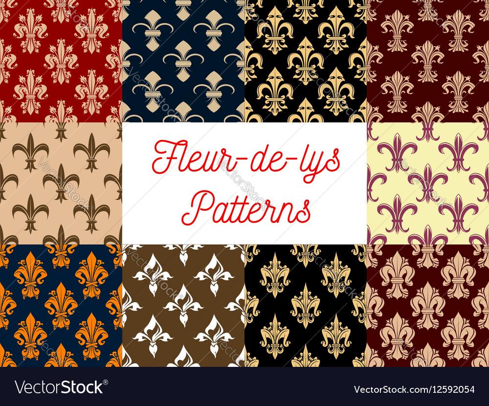 Royal flower fleur-de-lis ornament patterns set vector image
