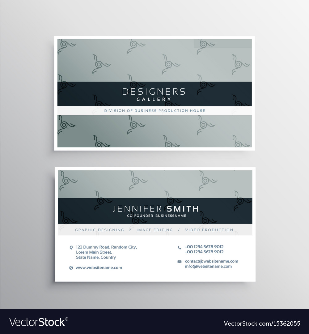 Clean gray business card design template Vector Image
