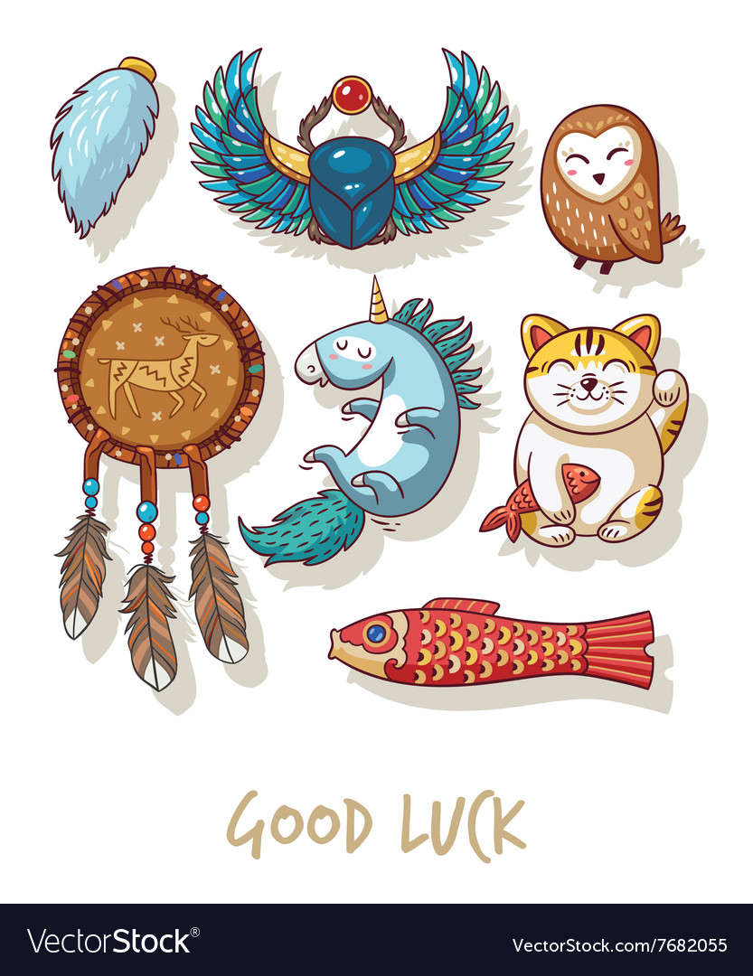 Good luck lucky amulets and happy symbols set vector image good luck lucky amulets and happy symbols set vector image buycottarizona
