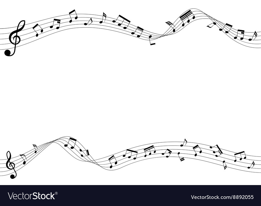 Musical notes on flow chord vector image