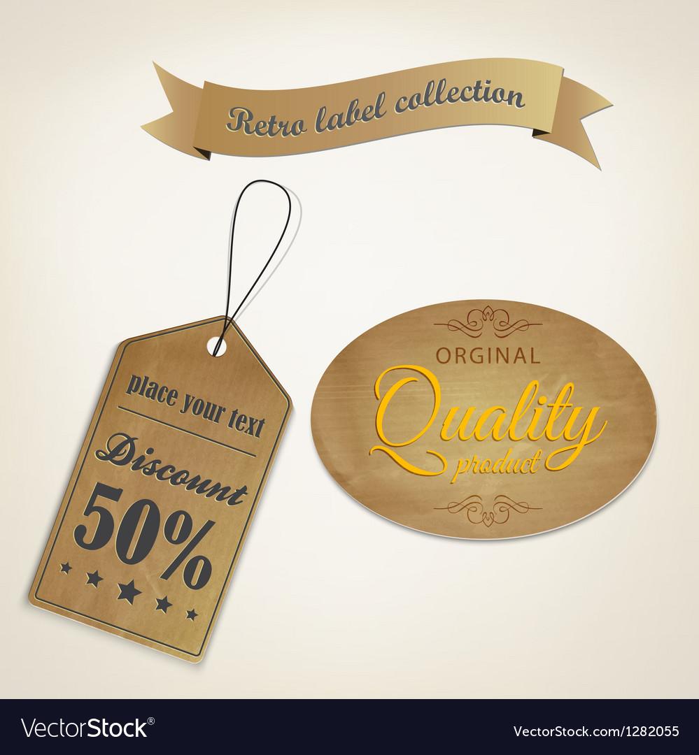 Retro old paper label vector image