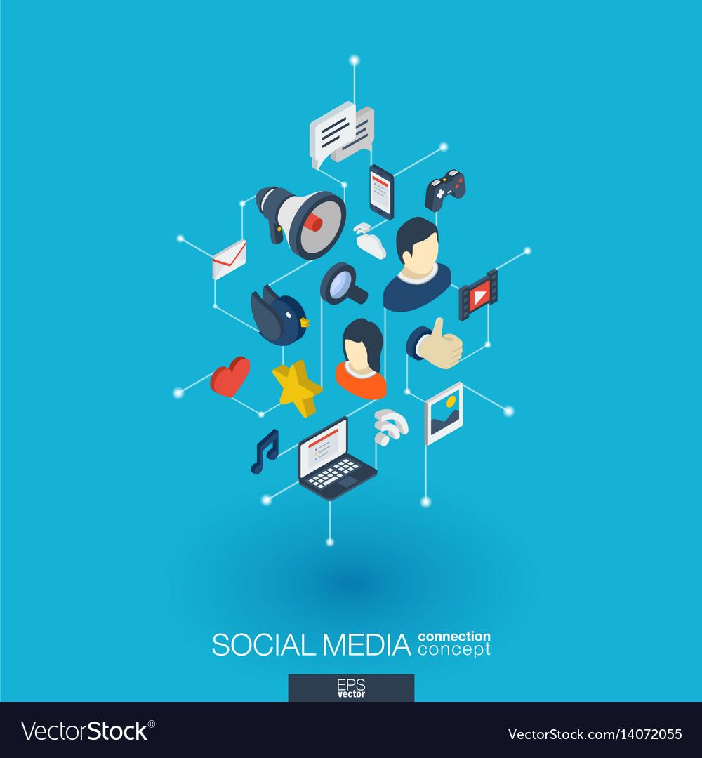 Social media integrated 3d web icons digital vector image