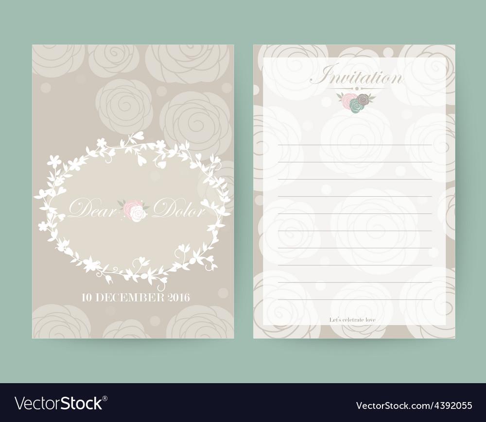 Vintage wedding invitation set design Template vector image