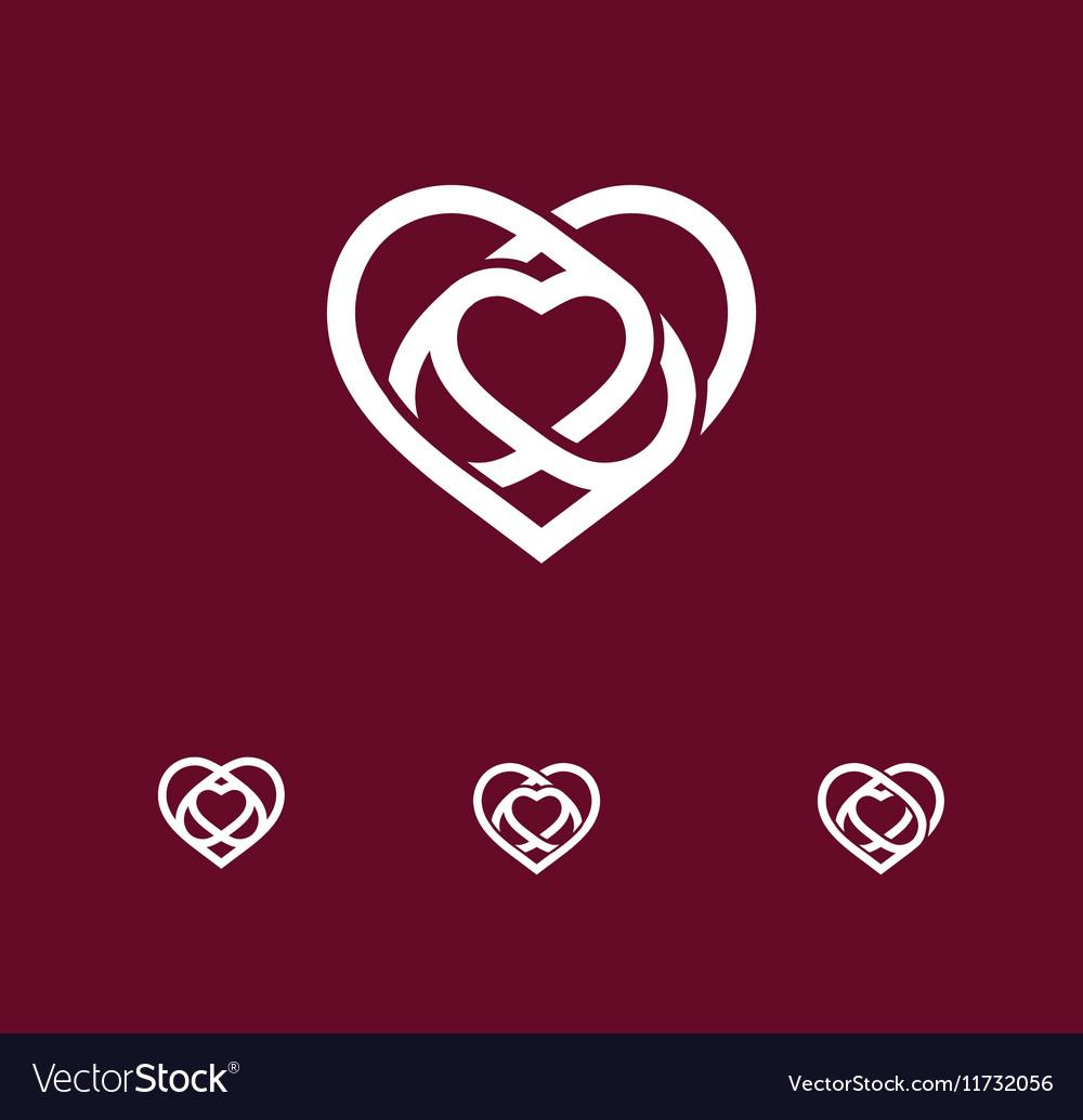 Isolated white abstract monoline heart logo set vector image